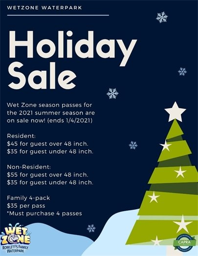 Wet Zone Holiday Sale