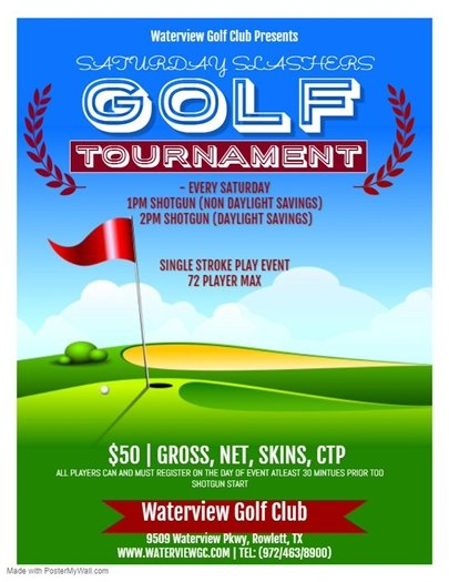 Saturday Slashers Golf Tournament @ Waterview Golf Club
