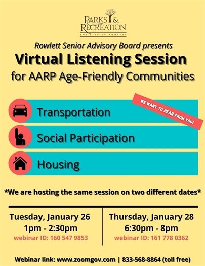 Virtual Listening Session for AARP Age-Friendly Communities