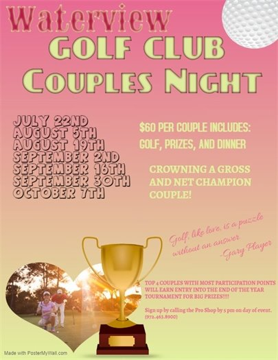 Waterview Golf Club Couples Night