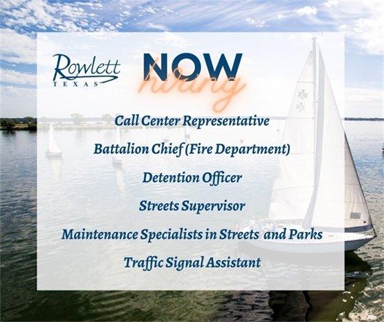 City of Rowlett Now Hiring