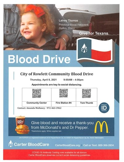 Local Carter Blood Drive April 8