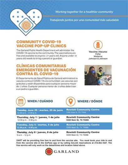 Popup Vaccine Clinics in Rowlett