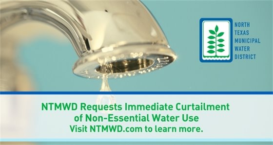 NTMWD Requests Immediate Curtailment of Non-Essential Water Use