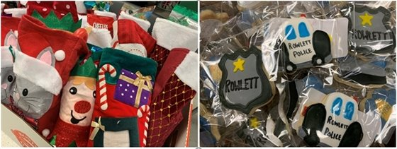 PD receives stockings & goodies