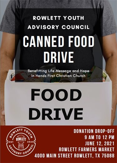 Rowlett Youth Advisory Council Canned Food Drive