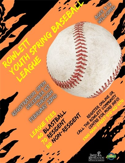Rowlett Parks & Recreation Youth spring Baseball League