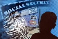 Image of a social security card, a fingerprint, and a persons silhouette