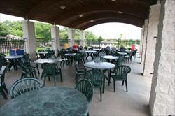 Covered patio with multiple tables and chairs