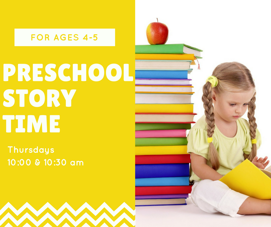 Preschool Story Time Thursdays at 10 and 10 thirty