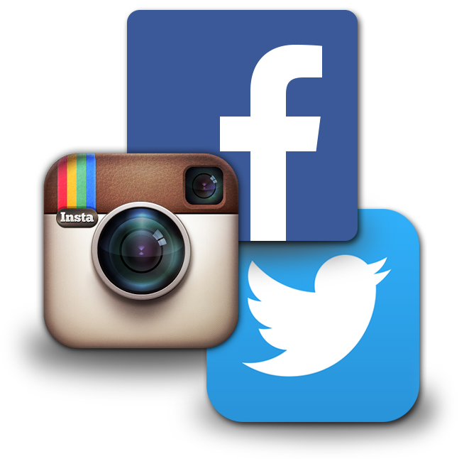 Social media icons for Facebook, Twitter, and Instagram