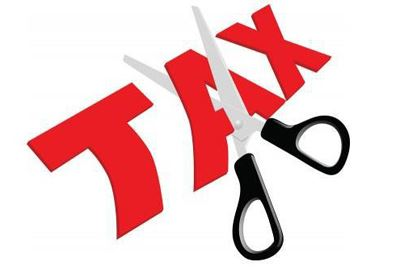 Tax being cut with scissors