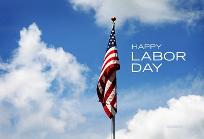 American flag, blue sky, Happy Labor Day