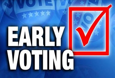 Early voting with red check mark