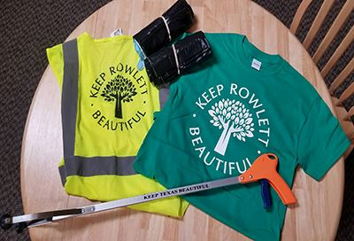 Keep Rowlett Beautiful Great American Cleanup tshirt and trash claw