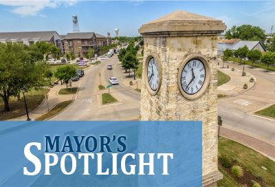 Mayors Spotlight  text over image of downtown Rowlett