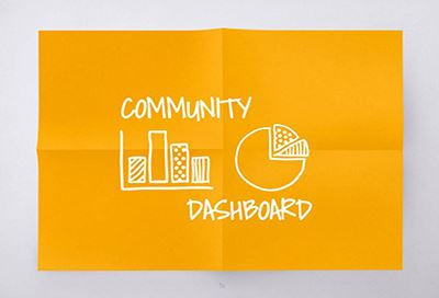 Gold paper with Community Dashboard written out