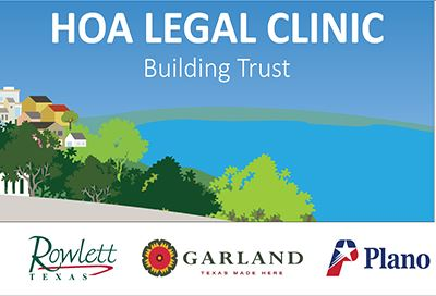 HOA Legal Clinic graphic with Rowlett, Plano, Garland logos