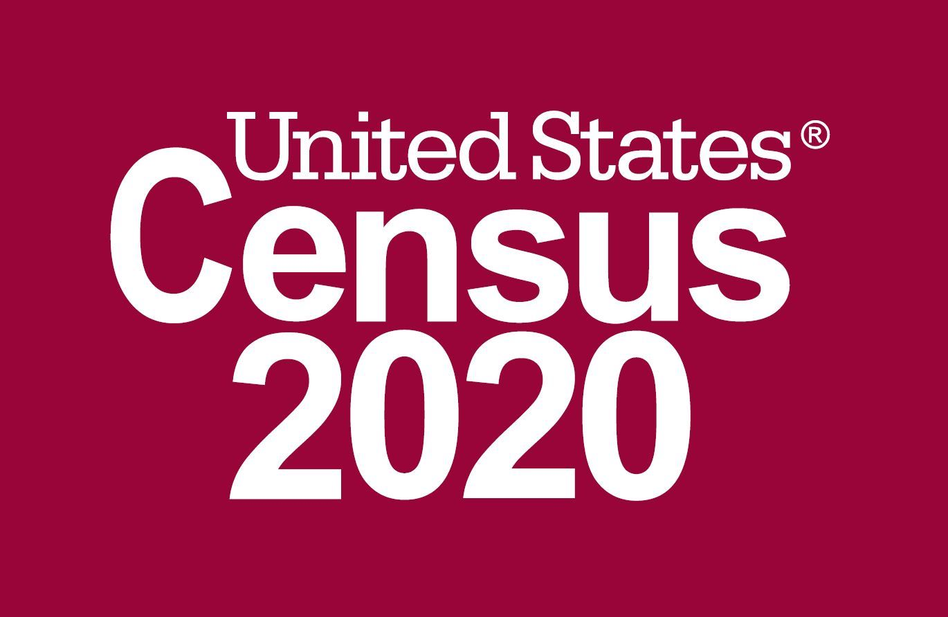 2020 Census text on red backgrouns