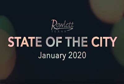 Bubbles on a black bckground, text reads 2020 State of the City