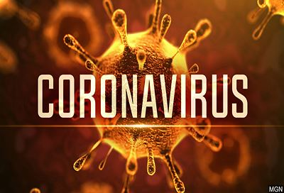 Coronavirus cells with text reading Coronavirus