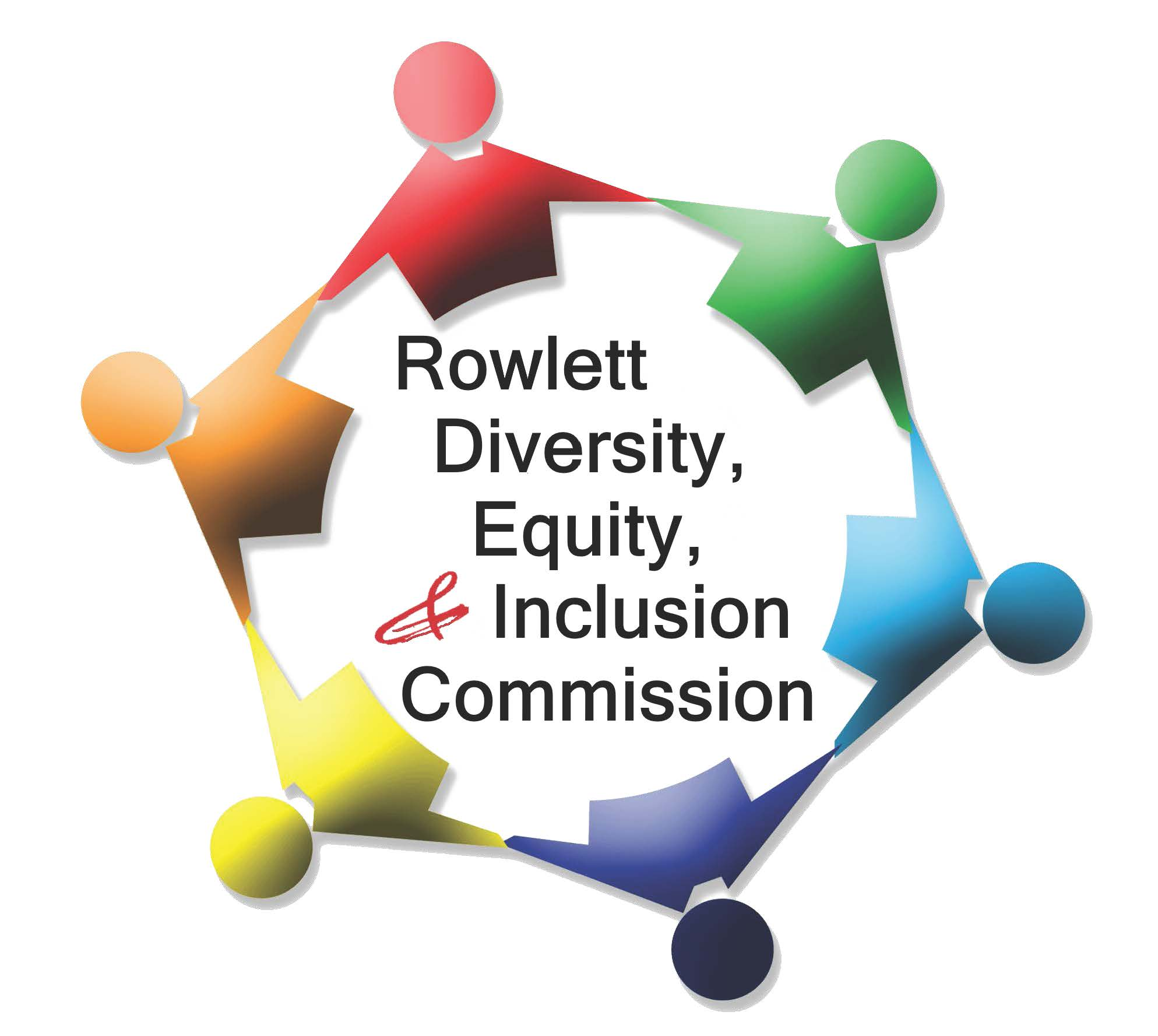 colorful representation of people holding hands text: Rowlett Diversity and Inclusion Commission