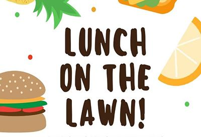 Text reading Lunch on the Lawn, drawings of hamburger in a bun and lemon slices