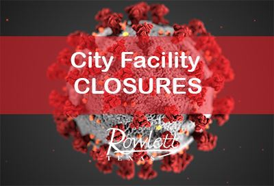 Coronavirus cell image, text: City Facility Closures