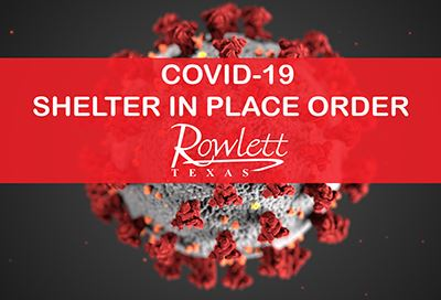 COVID-19 cell image, Shelter in Place Order text on a red banner