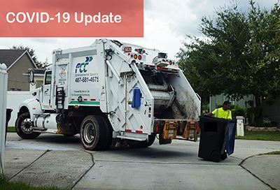 FCC garbage truck, text reads COVID-19 Update