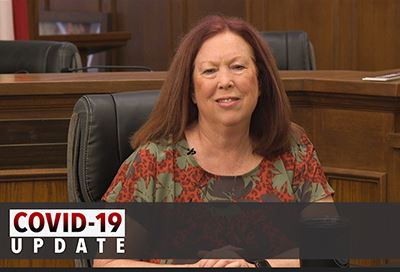 Mayor Tammy Dana Bashian, text reads COVID-19 Video Update