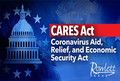 CARES Act  text with Rowlett logo