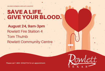 August Rowlett Blood Drive graphic, hands holding a heart