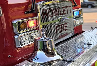 Front bumper of Rowlett Fire engine, large silver bell