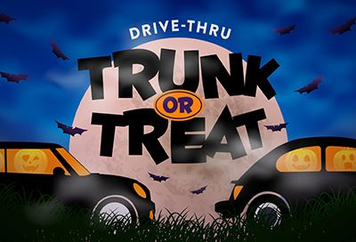 2 vehicles with pumpkins inside, bats flying around, text reads Drive Thru Trunk or Treat
