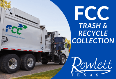 FCC Truck with text FCC Trash and Recycle Collection