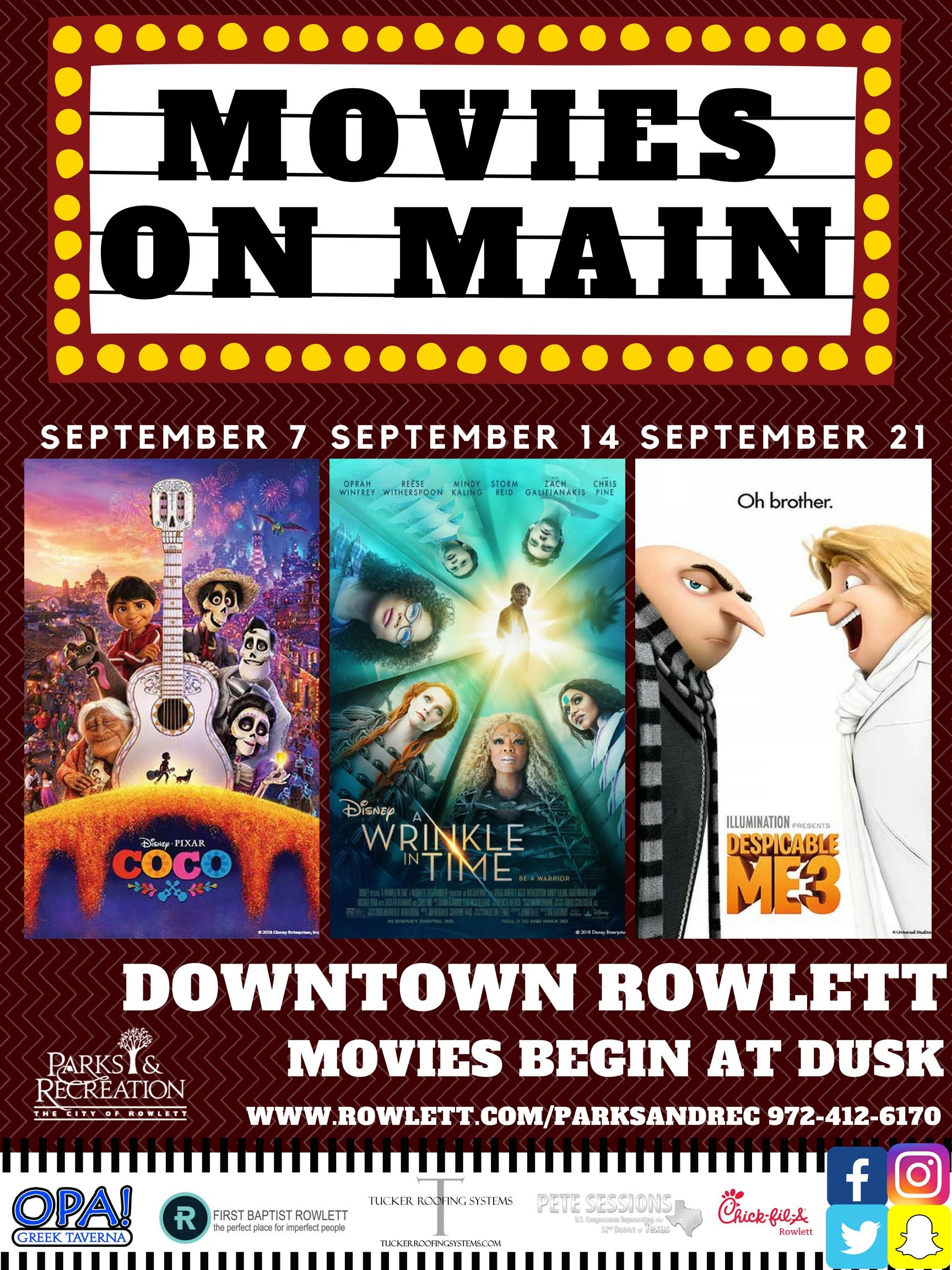 Movies on Main Flyer
